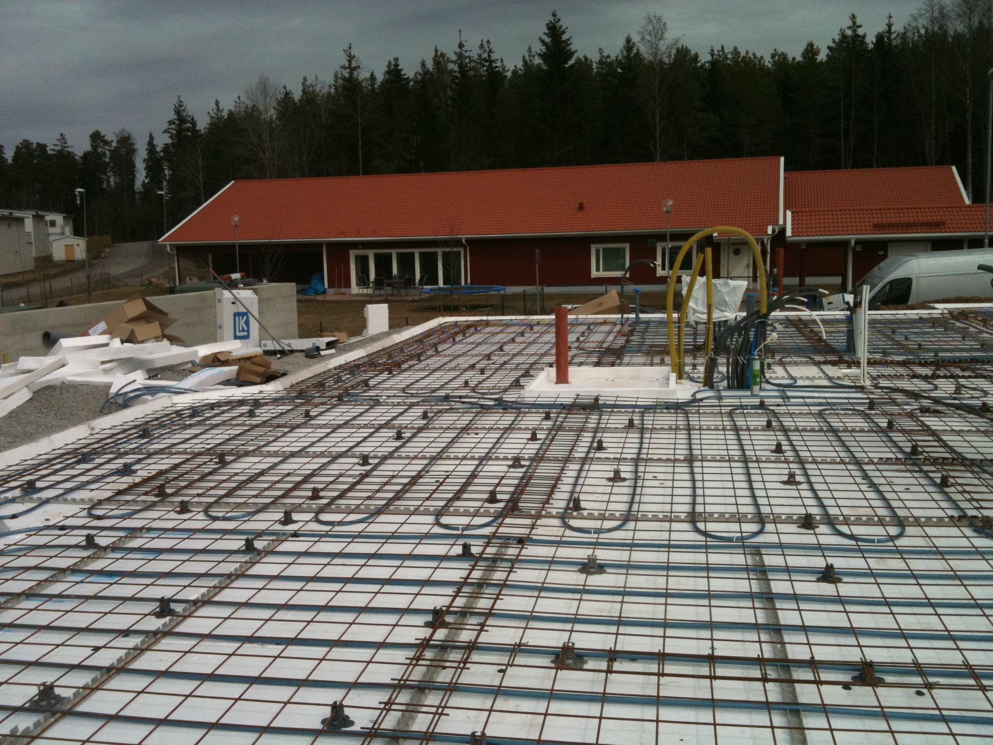 VVS arbete i grund för nybyggnation av villa från Ekohus i Storvreta Uppsala.